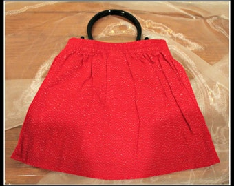 Red Glittery Up-cycled Pleated Skirt Purse, Red Skirt Purse, Valentines Day Purse, Little Girl Purse, Bright Red Purse