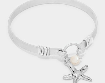 Pearl and Starfish Bangle Bracelet
