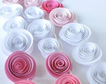 Garland Pink Paper Flower Garland- shower, birthday party, nursery garland