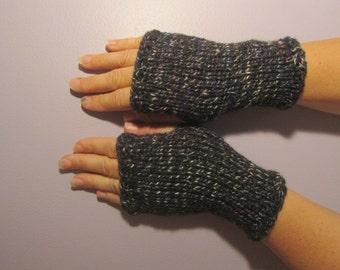 Fingerless Gloves - Black with White, Blue, Burgundy Flecks Hand Knit Fingerless Gloves