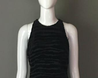 Gorg Vtg 80s 90s Best Oleg Cassini Black Tie Party Top Subtle Black Sequin Embellishment Velvet Tiger Like Striping S