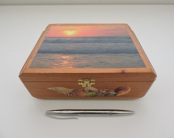 Beach Imagery Trapezoid Keepsake Box
