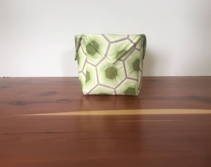 Green Hexagon fabric box, Organizer, Storage