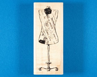 Dress Form Rubber Stamp by Inkadinkado - Collage with Vintage Checks