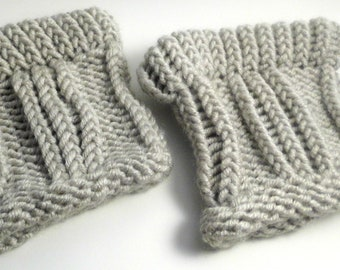 Handmade Knit Boot Cuffs / Boot Toppers (Pigeon Grey)