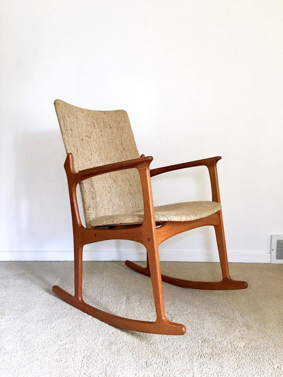 Vintage Danish Modern Sculpted Teak Rocking Chair High Back