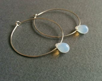 Edison. Opalite / moonstone light bulb hoop earrings.