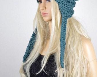 Earflap, Knit hat, Chullo, Tassel Earflap, Winter Hat, Handmade Hat, Chullo Hat, Teal Earflap Hat, Wool Acylic Hat, Fashion Hat
