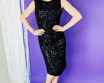 Vintage GLAM 50s 60s Inky Black Sequin Party Dress- 1950s 1960s Mad Men Sparkle Wiggle Dress Bombshell Glitter Silk Sequence Sheath Dress