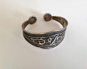 Bracelet / cuff / Bangle Eastern - silver - made hand - Berber - Kabyle - antique
