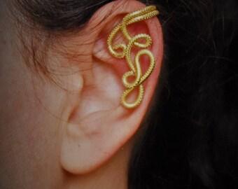 Gold striped aluminum wire EAR CUFF earring