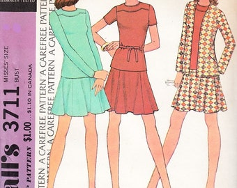 McCall's 3711 Misses Knit Jacket, Top And Flared Skirt Pattern , Size 10, UNCUT