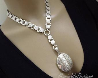 1881 Antique Victorian Sterling Silver Book Chain Collar Bookchain-Full English Hallmarks Locket Pendant Necklace