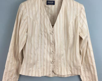 MONSOON Vintage 1980s Cream raw silk striped fitted jacket UK 12/14