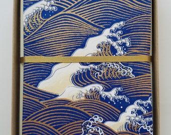 Wave Japanese Handmade Washi Boxed Note Card Set