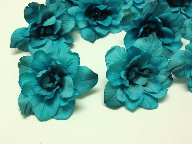 Silk Flowers 10 Delphinium Blossoms In Turquoise Aqua Blue