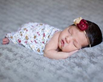 Newborn Floral Gauze Wrap with Flower Headband Set- Ready To Ship