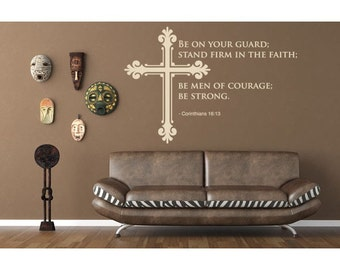 Men of Courage religious wall decal, sticker, mural, vinyl wall art