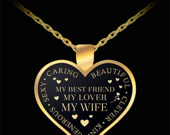 Future wife necklace love you forever goldsilver heart goldsilver heart gold quote necklace pendant with chain gift for wife anniversary gift valentines day gift birthday easter gift negle Image collections