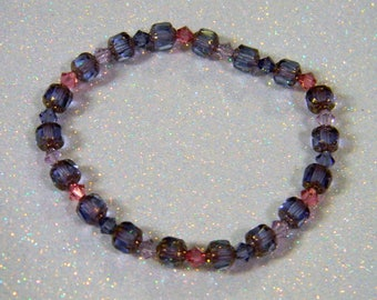Tanzanite, Rose and Bronze Cathedral Bead and Crystal Bicone Stretch Bracelet