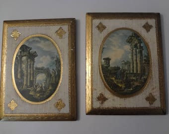 Vintage Italian Florentine Gold Gilt Wood Wall Plaque Set Made in italy