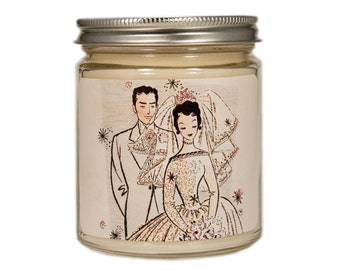 Wedding Candle, Custom Scented Candle, Bride Groom Candle, Container Candle, Soy Candle, Vintage Wedding, Wedding Gift, Wedding Shower Gift