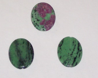 Ruby Zoisite oval pendant beads 40x30mm