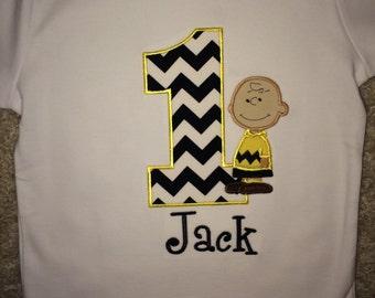 Charlie Brown Chevron Birthday Shirt