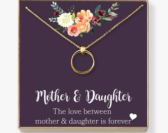 Mother Daughter Necklace, Mother's Day Gift, Gifts for Mom, Mom Necklace, Mother Necklace, Mother's Day Jewelry, 2 Linked Circles