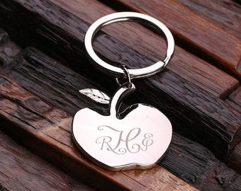 Personalized Monogrammed Apple Key Chain for Women, Girlfriend, Teacher Gift, Birthday Mother's Day Gift Idea with Wood Gift Box