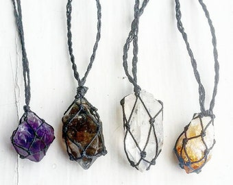 Amethyst, Citrine, Clear Quartz, Smokey Quartz Macrame Necklace