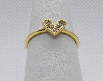 Diamond Heart Ring 14K Yellow Gold - 0.07 TCW Promise Ring by Luxinelle 399 Specials