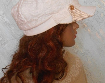 Women's cap, White cap, Wool cap, Winter cap, Cap white-milky
