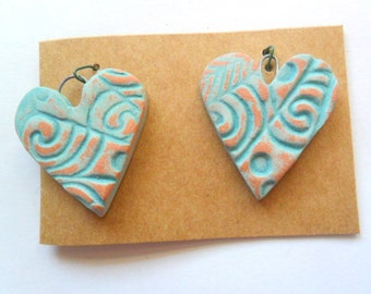 Distressed Turquoise Glazed Terra Cotta Kiln Fired Clay Heart Findings Pair