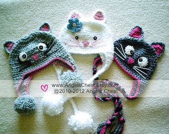 PDF Crochet Tutorial Pattern Here KITTY CAT Earflap Hat Prop Sizes Newborn to Adult by AngelsChest  Pattern No. 27