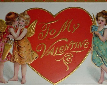 NEW Listing**Three Cupids and a Big Red Heart Antique Valentine Postcard UNUSED