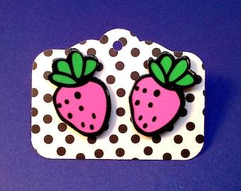 earrings studs pink strawberries