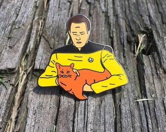 Data Holding a Cat - Black Nickel Hard Enamel Pin, Data pin, Star Trek Pin, Spot the cat