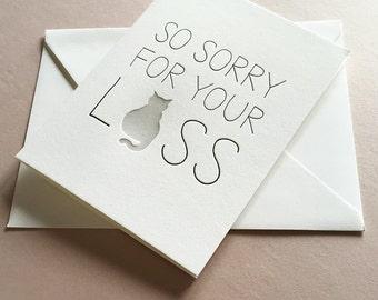 Letterpress Pet Sympathy card - Cat Sympathy