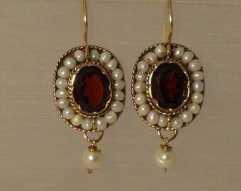 Vintage style Garnet and Pearl earrings