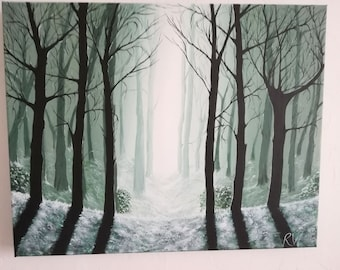 Misty Wood handpainted orginal in acrylics on canvas