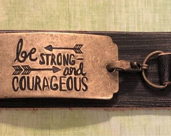 Black Distressed Leather Bracelet - Be Strong And Courageous - Joshua 1:9!