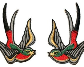 Multi Color Tattoo Sparrow Swallow Biker Embroidered Iron On Applique Patch
