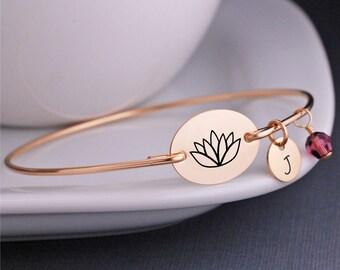 Lotus Blumenschmuck, individuelle Yoga-Armband, personalisierte Armreif Armband, Yogaschmuck, Schmuck, Wellness, inspirierend Geschenk