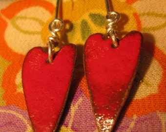 Red Enamel Heart Earrings 4