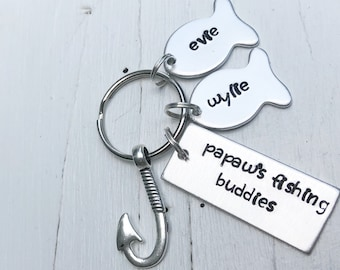 Grandpa Gift - Papaws Fishing Buddies - Granddad Keychain - Fathers Day Gift - Fishing Keychain