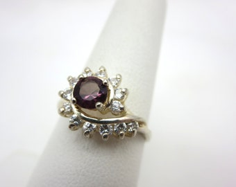 Sterling Amethyst Glass Ring - CZ Silver Purple Costume Jewelry