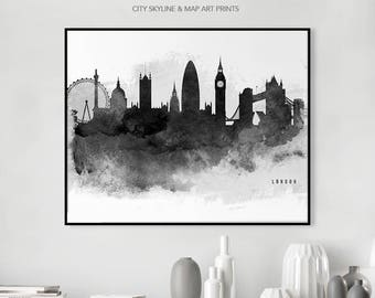 London Art Print Poster Skyline Wall Art London Watercolor Cityscape Wall decor Gift Travel, iPrintPoster