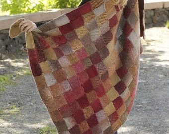 "Handmade hand knit blanket / throw in entrelac (basket-woven squares) patten multicolor in soft 100% wool (93 cm / 36"" x 150 cm / 59'')"