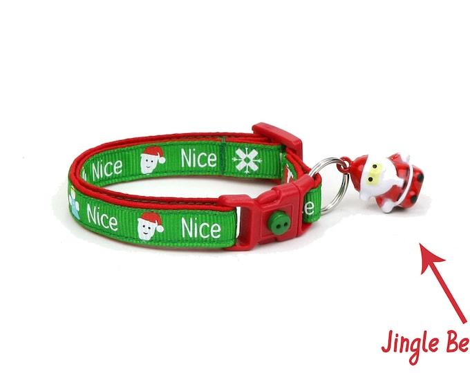 Christmas Cat Collar - Santa's Nice List - Small Cat / Kitten Size or Large(standard) Size Collar